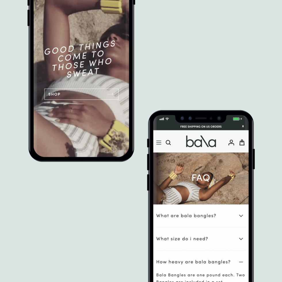 Image of Bala ads on cell phones with the text Good things come to those who sweat