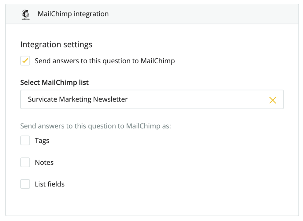 Image of Mailchimp integration settings.