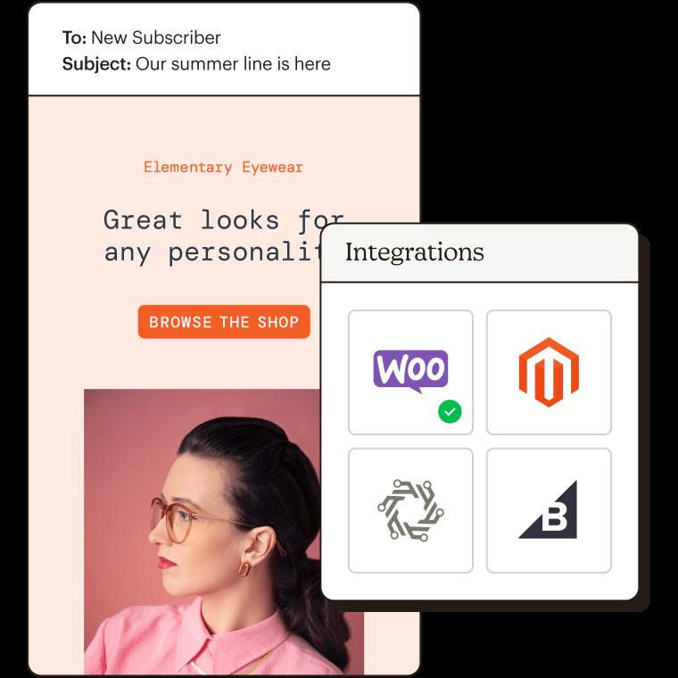 Integrations Abstract UI featuring Elementary Eyewear fake brand