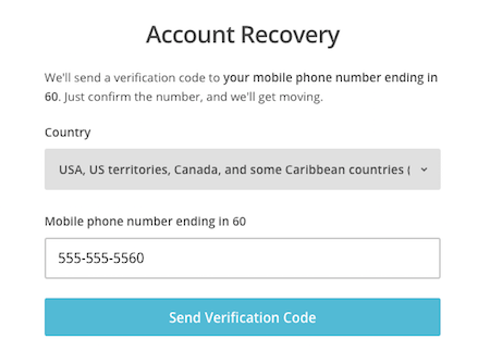 Enter phone number for account recovery.