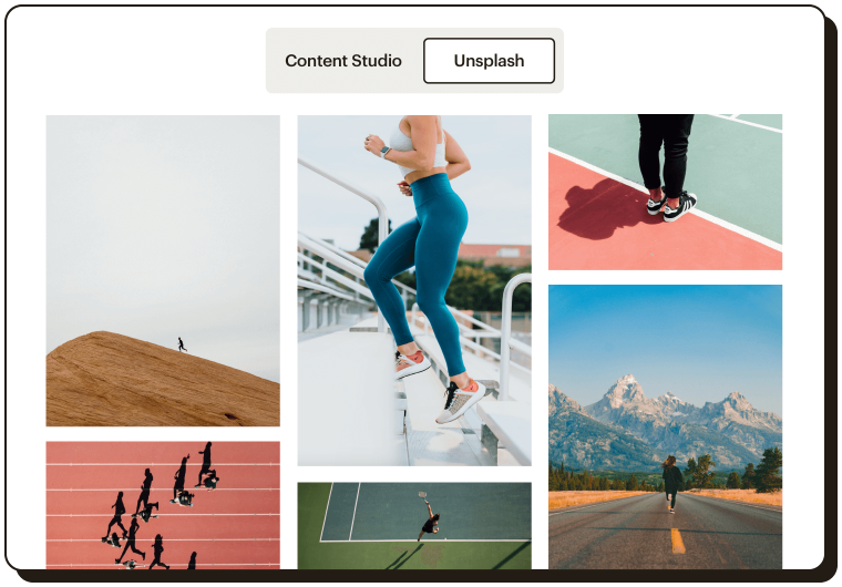 Abstract UI showing various Unsplash images that can be added to a Mailchimp website