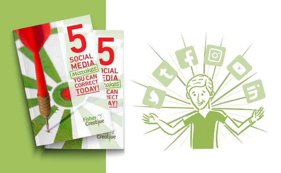 Social media marketing promotional flyer featuring two identical brochures stacked on top of one another with darts on the cover.  To the right, an illustrated smiling man with social media icons arching over him.