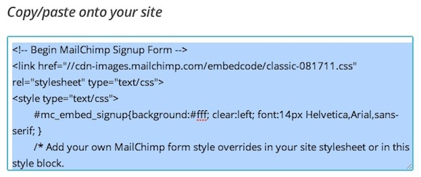 Select embed form code