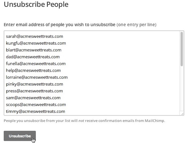 Image showing list of emails pasted into unsubscribe field