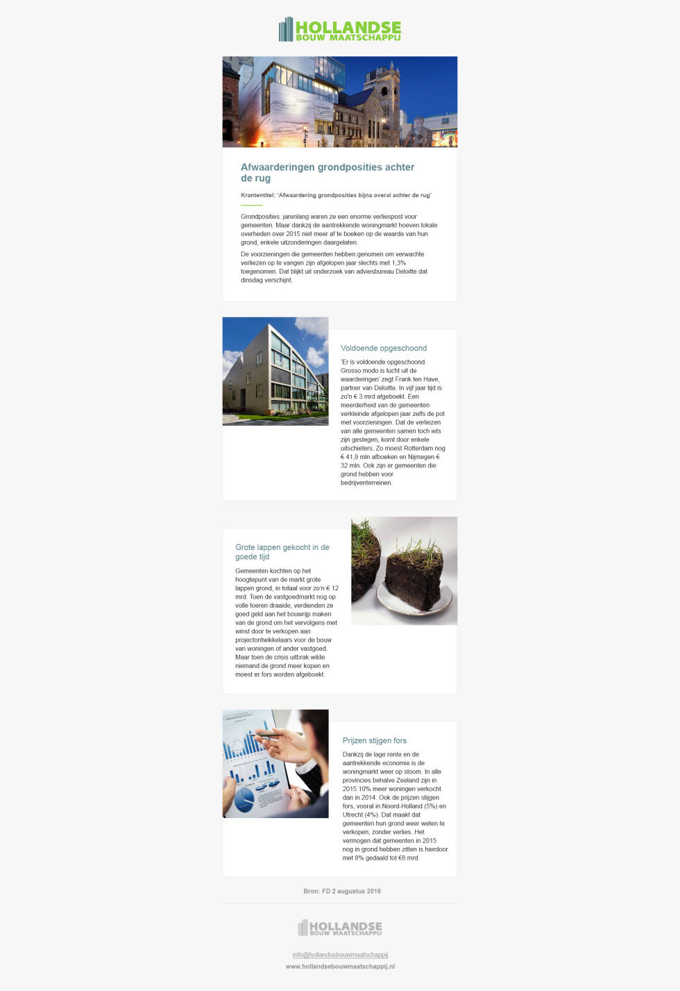 A Mailchimp email newsletter template.