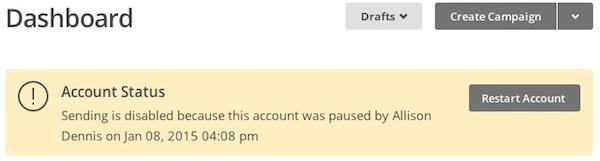 unpause account from Mailchimp dashboard