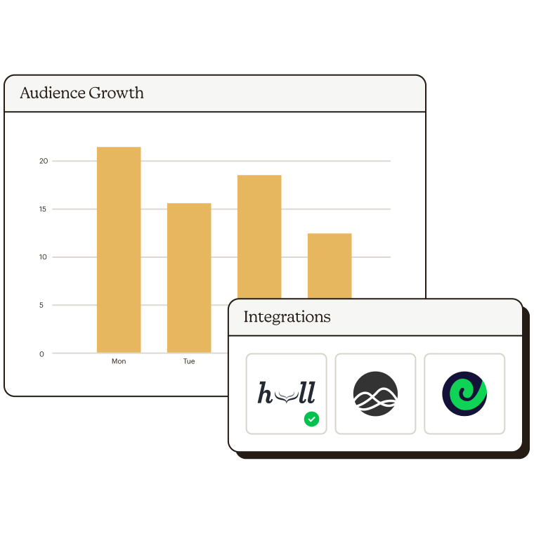 Audience growth chart with data integration options.