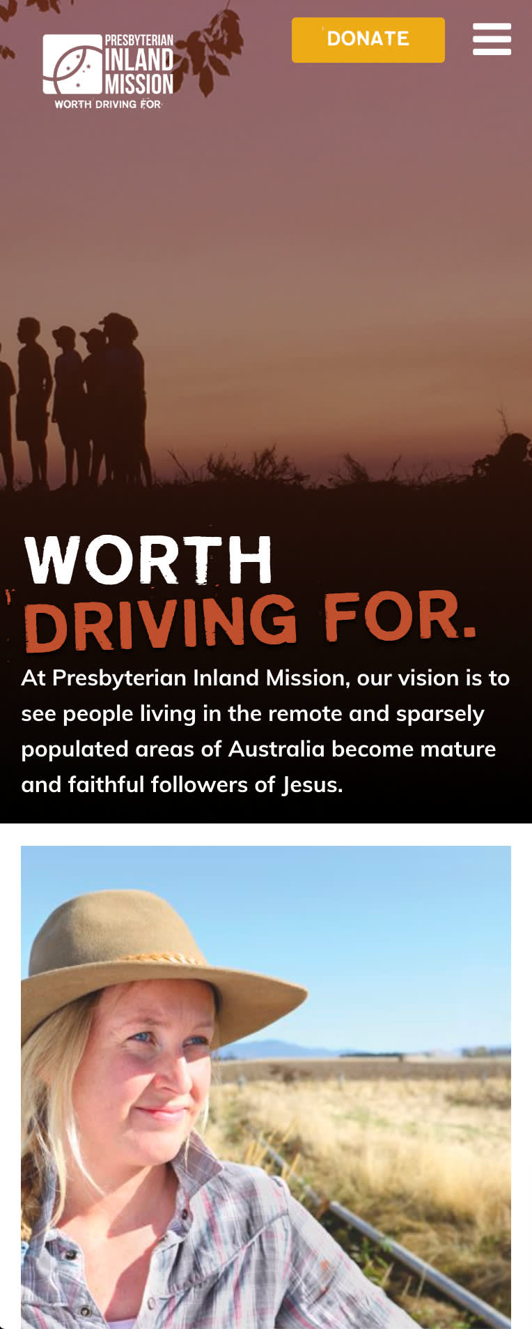 """Image of mobile site of presbyterian inland mission with text """"worth driving for"""" and a woman on a ranch."""