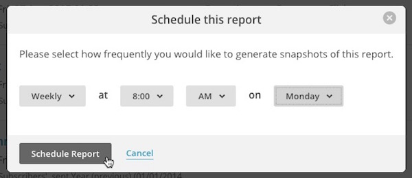 Schedule report pop-up modal with cursor on Schedule Report button.