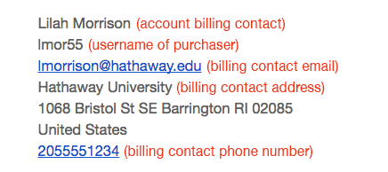 issued to billing receipt