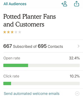 iOS audience view welcome emails