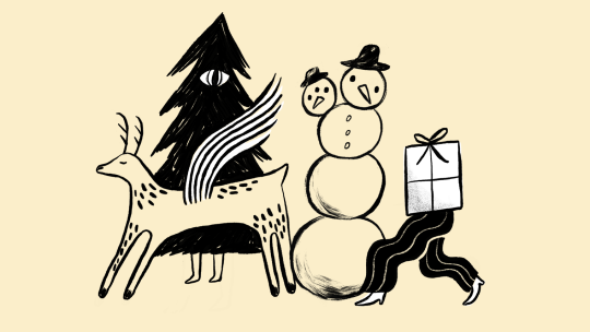 Illustration of a two headed snowman, a flying deer, a walking walking christmas tree and a walking present
