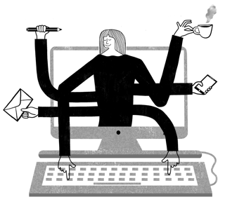 Person with 6 arms, multitasking in a computer.