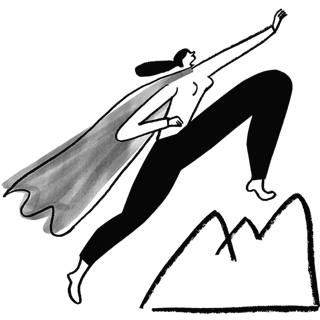 Person with superhero cape standing on top of a mountain.