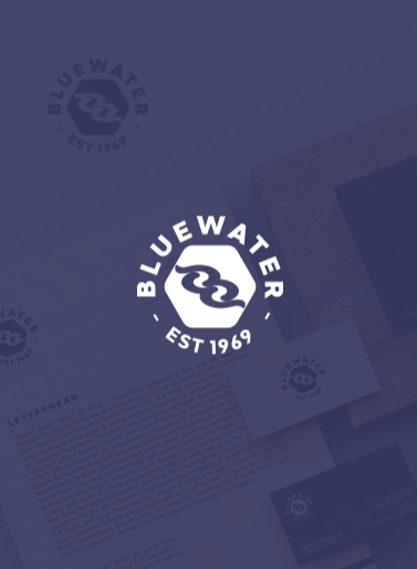Image of Bluewater Est 1969 logo on a blue background