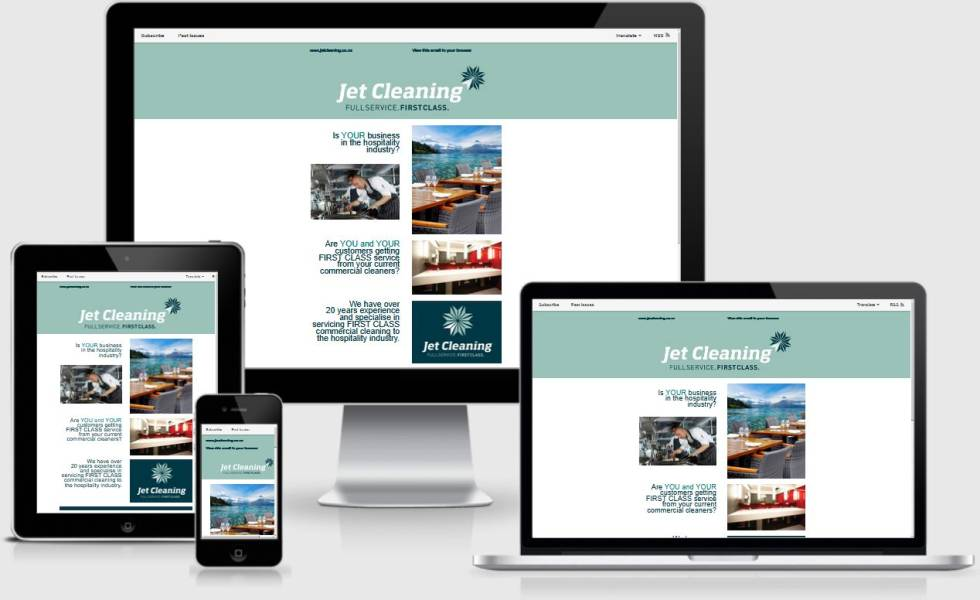 Image of Jet cleaning newsletter on multiple devices.