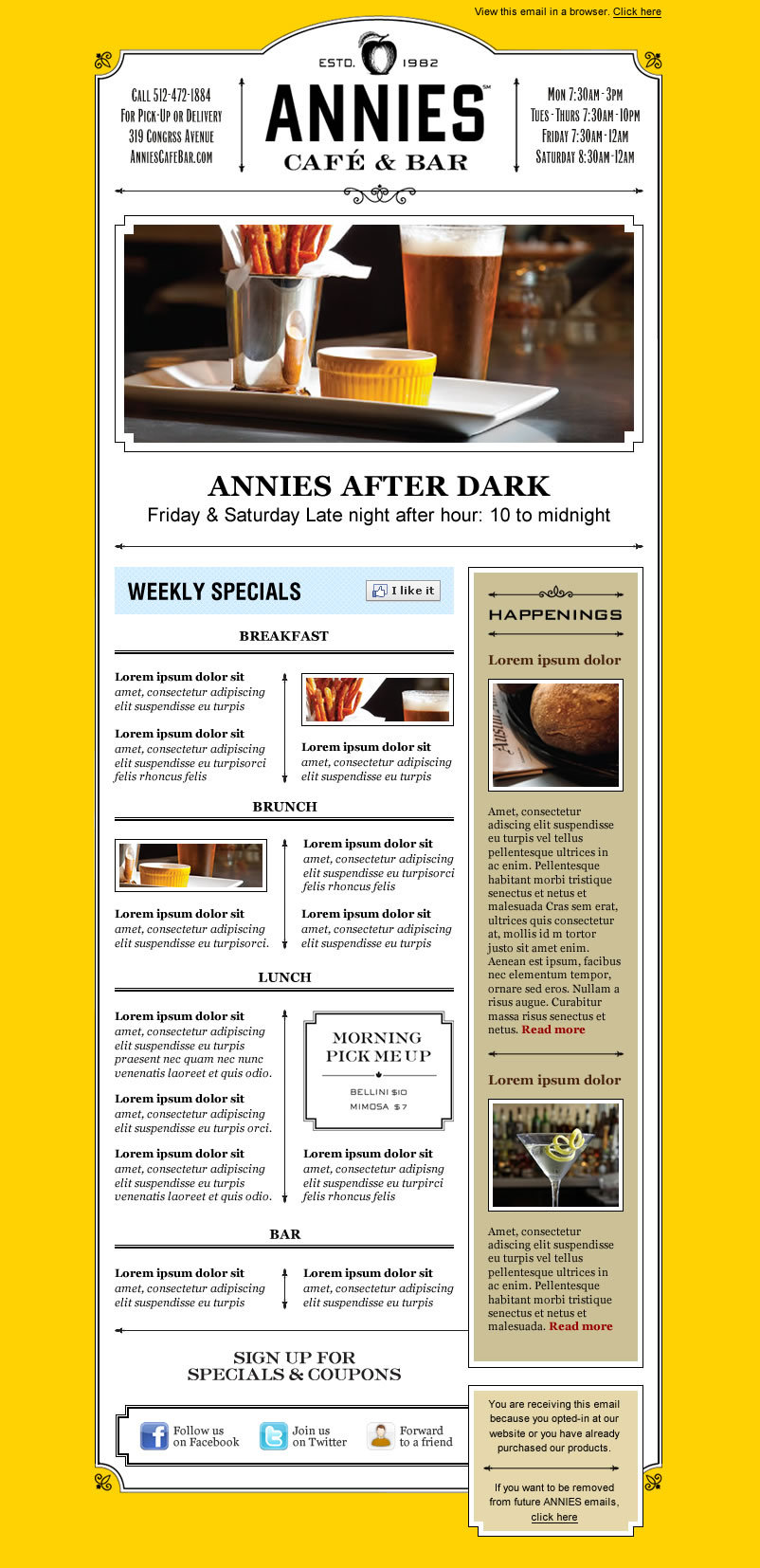 Image of Annies Café & Bar Newsletter