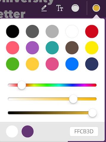 Color picker in toolbar.