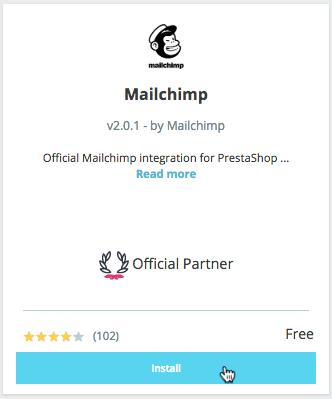 Install Mailchimp for PrestaShop- cursor clicks- Install