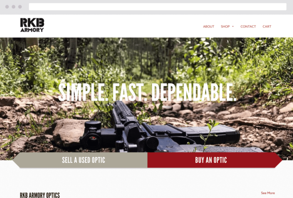 Image of webpage that says Simple fast dependable