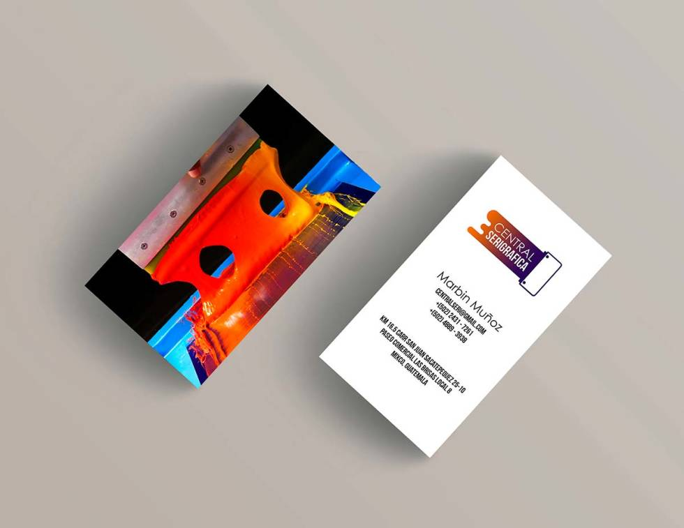 Branding assets. 2 cards, one is featuring photograph of red paint and other card includes contact information.