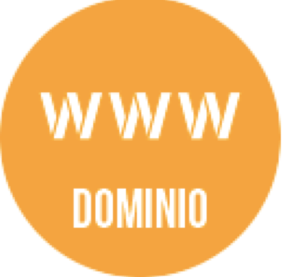 "Logo representing orange circle with ""www"" in white across center of circle horizontally. Under ""www"" is the word ""dominio"" in white text horizontally."