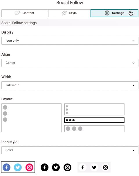 Socialfollowblock-Settingstab