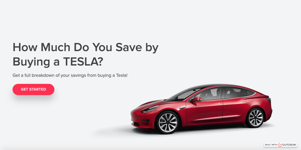 Image of a Tesla car with the text How much do you save by buying a Tesla?