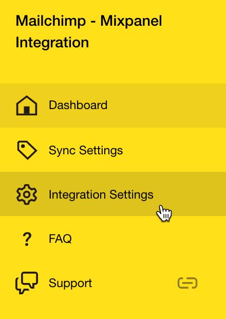 Mixpanel Menu Integration Settings