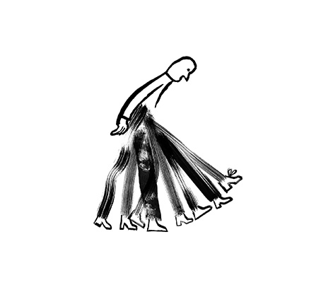 An illustration of a person with many feet stepping forward.