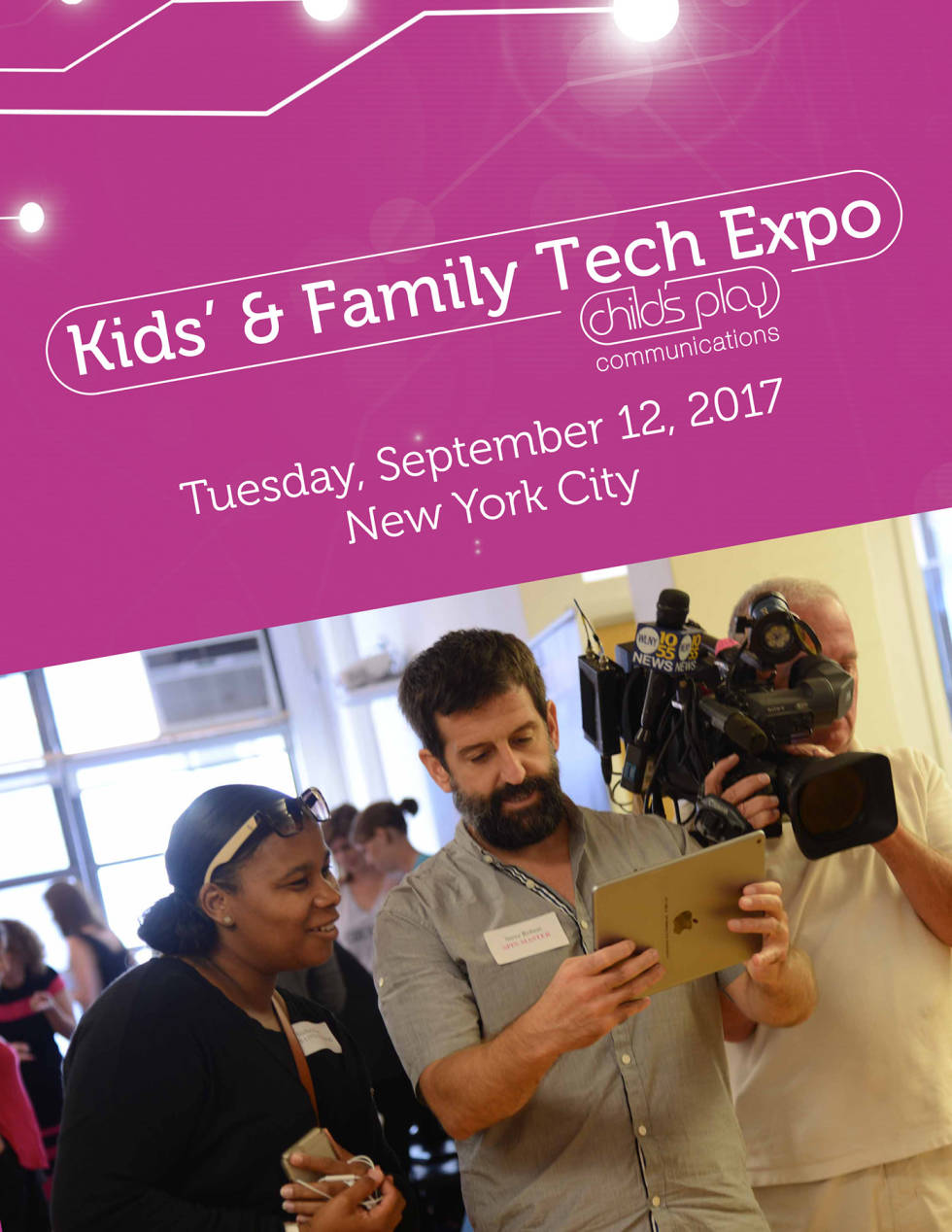 """Image of a guy and women in the mirror with text """"Kids and Family tech expo"""""""
