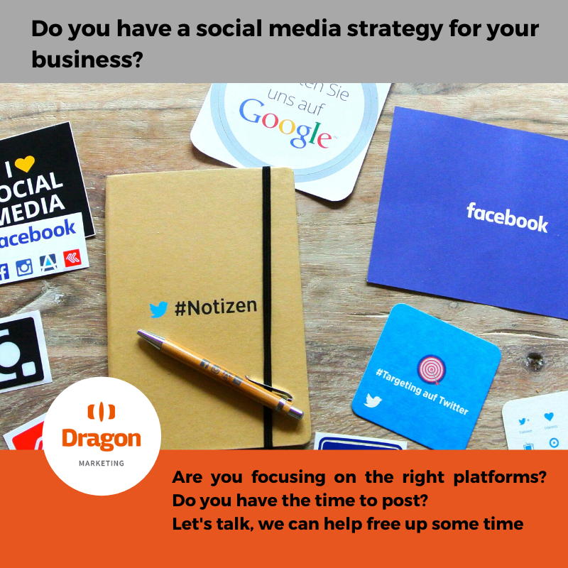 Image of a notebook and business cards with the text do you have a social media strategy for your business?