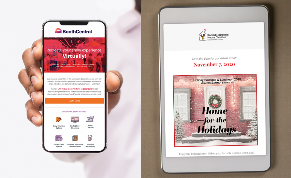 "Image of a phone with text ""Booth Central"" and an iPad with text ""Home for the holidays"""