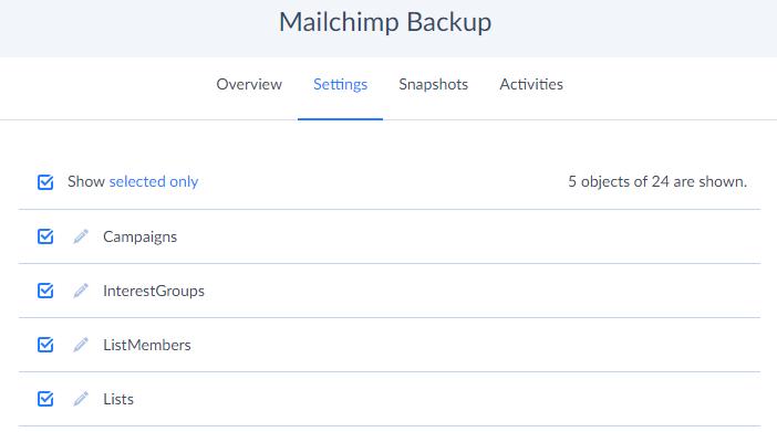 Image of Mailchimp backup settings