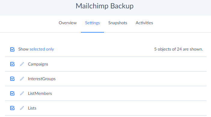 Image of Mailchimp backup settings