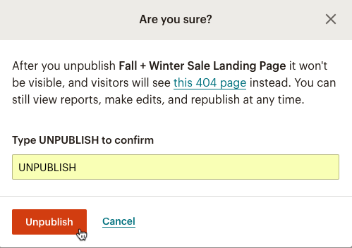 Unpublish modal with the cursor clicking Unpublish.