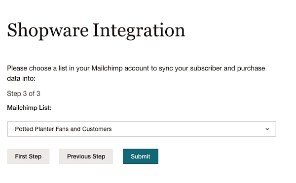 Choose Your List - MC4Shopware