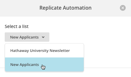 select a new list in replicate modal