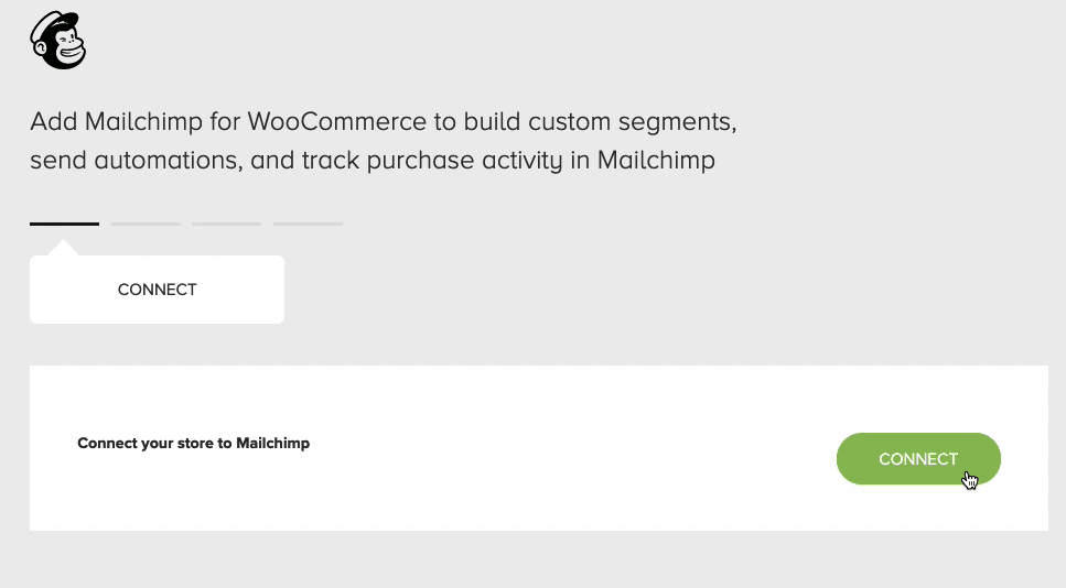 Mailchimp for WooCommerce - cursor clicks - connect