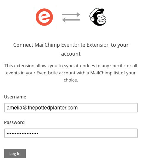 Credentials placed in the username and password fields to connect Eventbrite to Mailchimp. Cursor clicks the button to Log In.