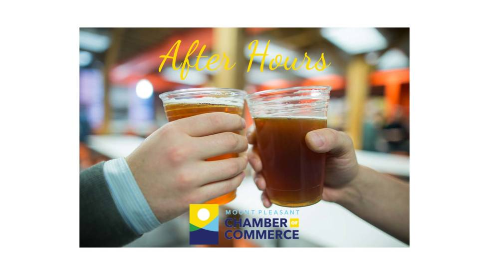 Image of two people tapping beers together with the text After hours
