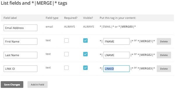 Create new field and change merge tag