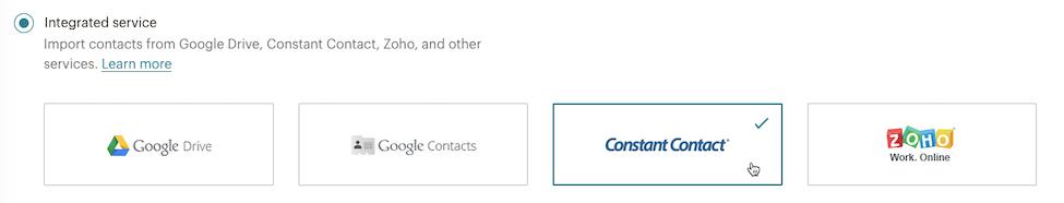 curseur cliquant sur - constant contact - importer des contacts