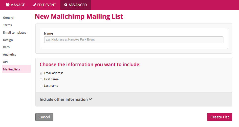 Image of option to Name New Mailchimp Mailing list