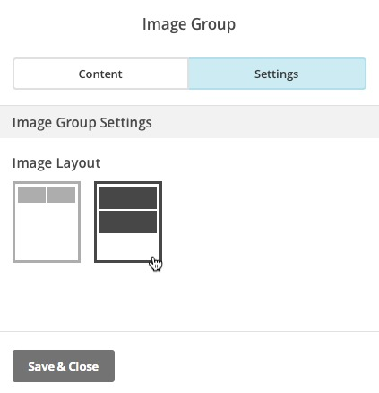 Choose Image Group layout on Settings tab