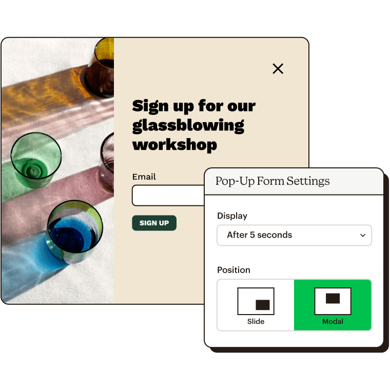 Example sign up form with setting showing when to display and positioning options.