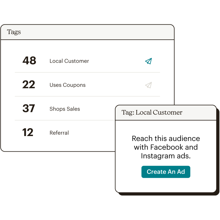 List showing audience members per tag and the ability to send an ad to a certain audience.