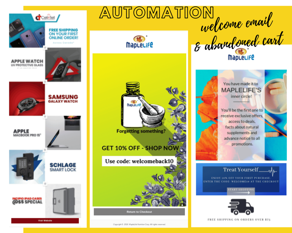 "Image of electronics and appliances, and two webpages for Maple Life with text ""Automation: Welcome email and abandoned cart"""
