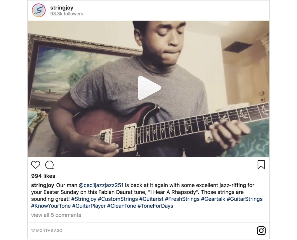 An Instagram post from Stringjoy featuring a person playing guitar