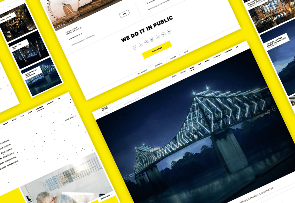 Image of a bridge on a websites and then other monuments on a yellow background.